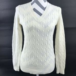 J Crew Cable Knit Pullover Sweater Wool Blend